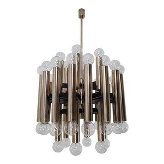 Mid-Century Modernist Steel Chandelier With 48-Light Bulbs, Berlin, 1960s For Sale