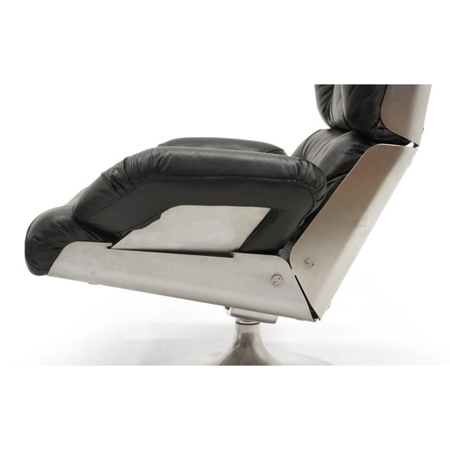 Black French Black Vinyl and Cast Aluminum Lounge Swivel Chair & Ottoman For Sale - Image 8 of 9
