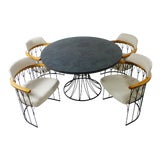 Image of 1960s Vintage Mid-Century Modern Woodard Iron Dining Set - 5 Pieces For Sale