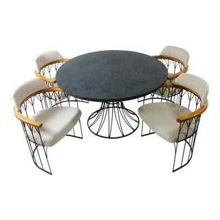 1960s Vintage Mid-Century Modern Woodard Iron Dining Set - 5 Pieces For Sale