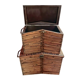 1990s Vintage Burnt Bamboo Split Reed Black Forest Style Gable Lidded Storage Boxes - a Pair For Sale