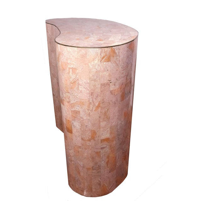 Final Markdown Maitland-Smith Tessellated Pink Marble Kidney Side Table For Sale