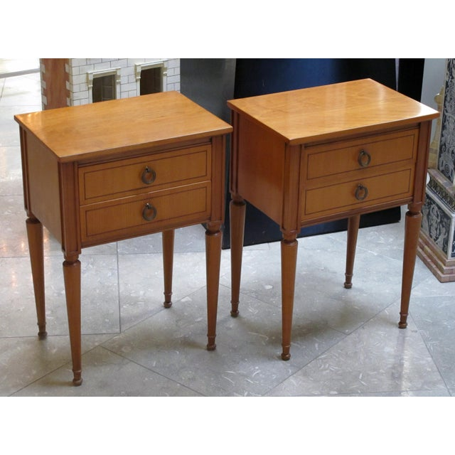 Mid 20th Century A stylish pair of French mid-century modern sycamore 2-drawer bedside cabinets For Sale - Image 5 of 6