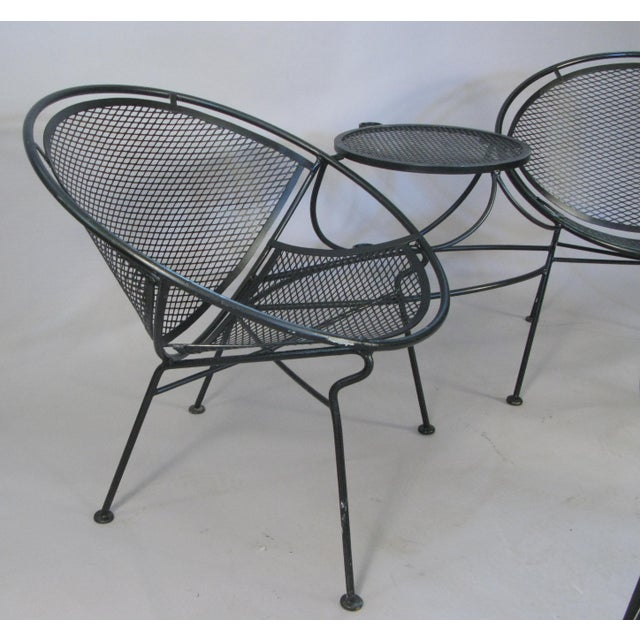 Metal 1950s Salterini Radar Tete a Tetes and Cocktail Table- 3 Pieces For Sale - Image 7 of 9