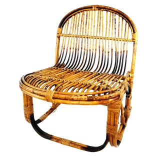 Vintage Boho Chic Rattan & Bamboo Low Accent Chair For Sale