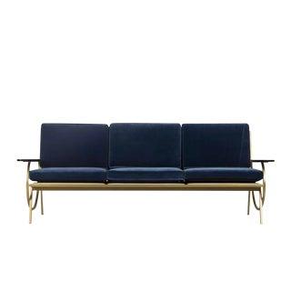 Contemporary Resource Decor Curved Gold Blue Suede Sofa