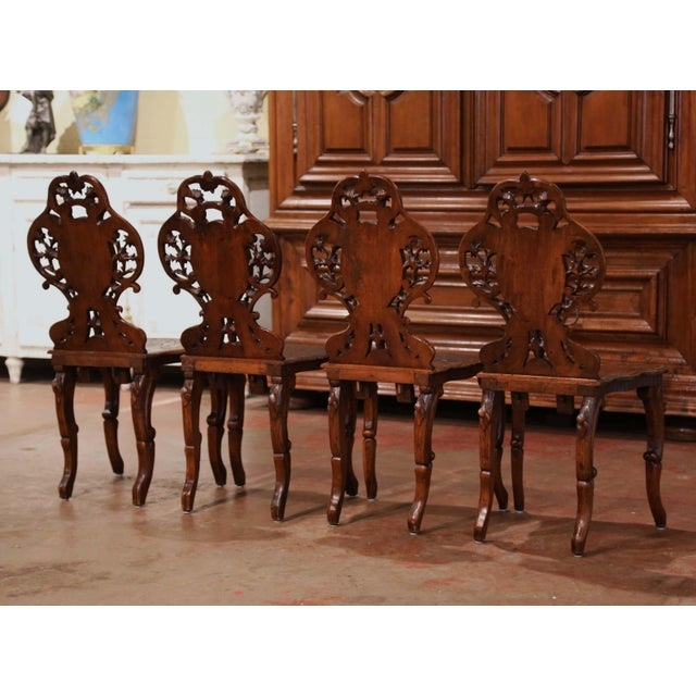 Set of Four 19th Century French Black Forest Carved Walnut Chairs For Sale - Image 9 of 13