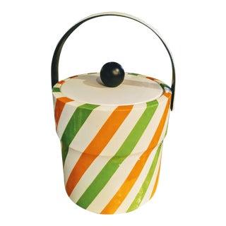 Vintage Retro 60's-70's Striped Orange Green Vinyl Ice Bucket For Sale