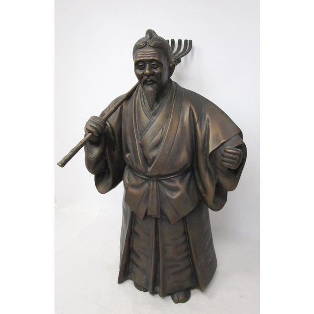 Japanese Japanese Farmer and Wife Bronze Figures - a Pair For Sale - Image 3 of 13