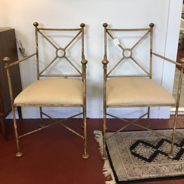 Vintage Gilt Iron Chairs - A Pair - Image 7 of 8