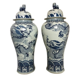 "Mansion Size Chinoiserie Dragons Ginger Jars Pair 45""h"