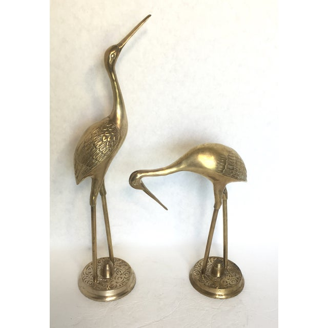 Hollywood Regency Brass Cranes - A Pair - Image 2 of 5