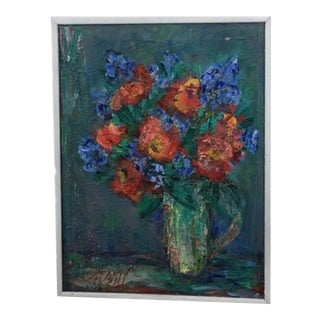 """Original Mid Century Floral Painting, Signed """"McCarty"""" For Sale"""