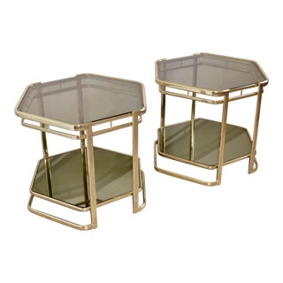 Postmodern Hexagonal Lacquered Brass Smoked Glass 2-Tier End Tables - a Pair-- Final Markdown For Sale