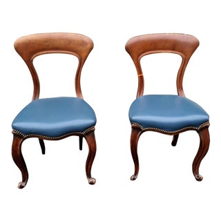 Pair of Stylish Antique Side Chairs w Blue Leather Seats