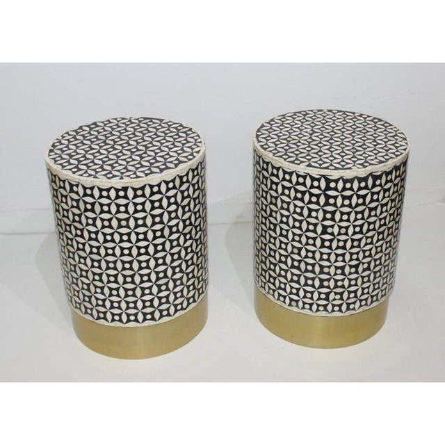 Vintage Drum Tables Tessellated Black and White Bone - a Set of 2 For Sale - Image 11 of 13