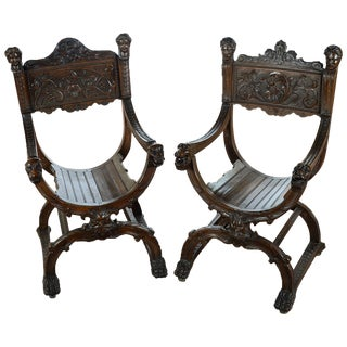 19th Century Carved Walnut Roman Chairs - A Pair For Sale