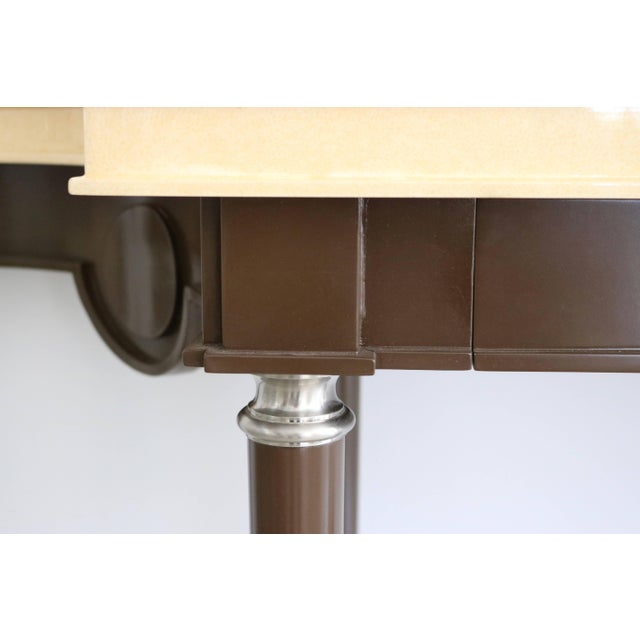 Brown Art Deco Revival Goatskin Lacquered Console & Mirror by Lucien Rollin for William Switzer For Sale - Image 8 of 11