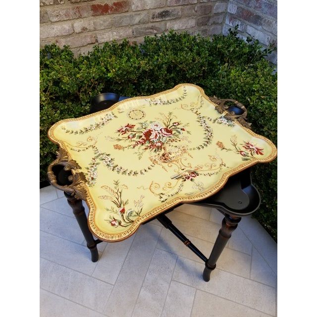 Hollywood Regency Porcelain Tray Table For Sale - Image 3 of 9