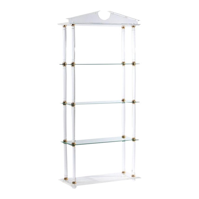 Neoclassic Modern Lucite and Brass Etagere For Sale