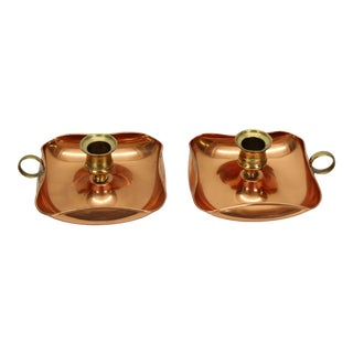 Mid Century Brass & Copper Candle Holders For Sale