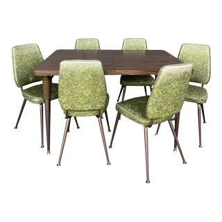 Chromecraft Mid-Century Modern Green Upholstered Dinette Set - 7 Pieces For Sale
