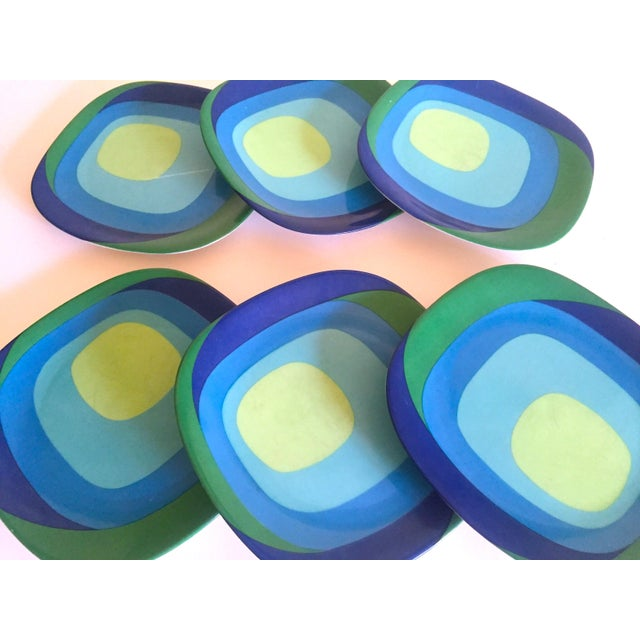 "Blue Vintage Mid Century Modern Rare Block Langenthal Switzerland "" Study in Squares "" Porcelain Dessert Plates - Set of 6 For Sale - Image 8 of 13"