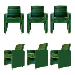 1970s Milo Baughman for Directional Dining Chairs on Casters – a Set of 6