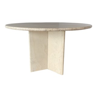 1970s Hollywood Regency Round Travertine Dining Table For Sale
