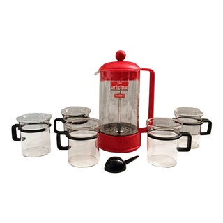 Vintage Bodum Bistro Cups & Bodum Brazil French Press For Sale