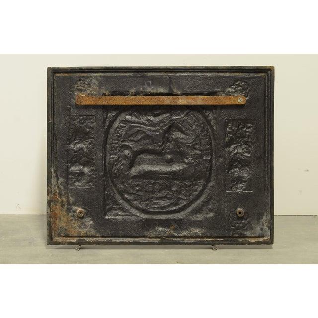 "Cast Iron Antique Fireback or Backsplash ""In Recto Decus"" For Sale - Image 7 of 8"
