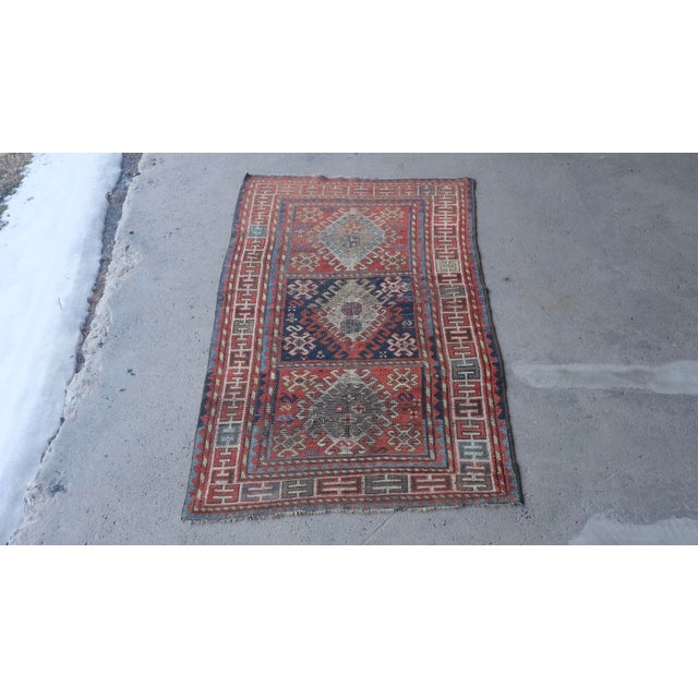 "Antique Distressed Caucasian Kazak - 3'9""x7'6"" For Sale - Image 9 of 9"