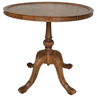 Pedestal Walnut Round Coffee or Side Table With Ornamental Carved Legs For Sale