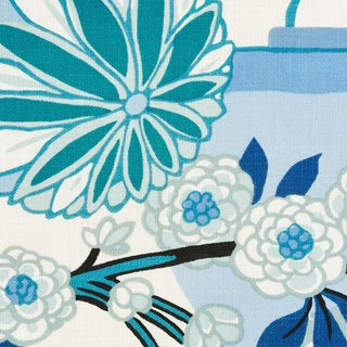 Schumacher Chiang Mai Indoor/Outdoor Fabric in China Blue For Sale