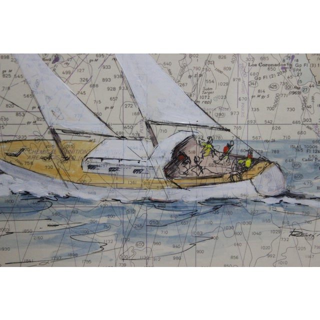 Colorful Catalina Island sailboat (in gouache) by 'Renner' (LR) painted over a chart map of the waters off the coast of...