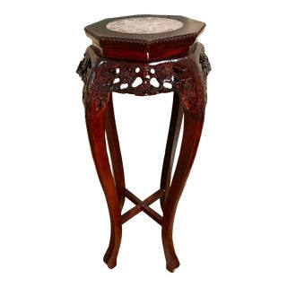 Vintage Chinese Hand Carved Rosewood Marble Top Pedestal Table For Sale