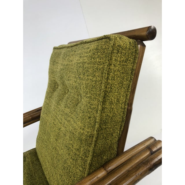 Mid Century Boho Chic Bamboo Lounge Chair With Green Upholstery For Sale - Image 6 of 13