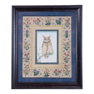 Vintage Hand-Painted Owl Surrounded by Flowers, Framed For Sale