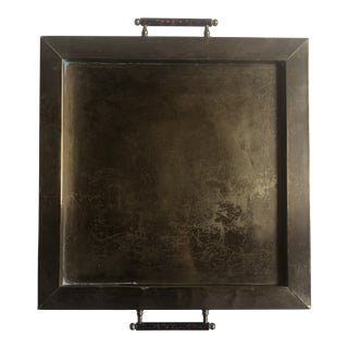 Vintage Minimalist Mid Century Square Brass Tray For Sale