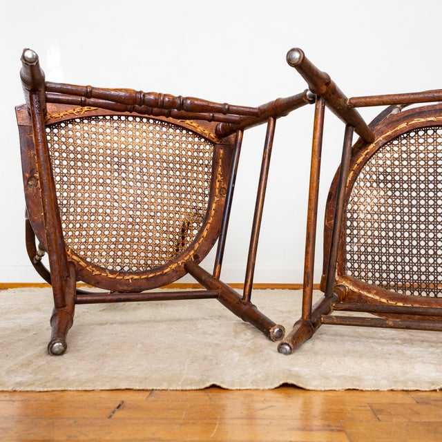 19th Century Vintage Cane Seat Spindle Back Windsor Primitive Bow Back Chairs For Sale - Image 10 of 13