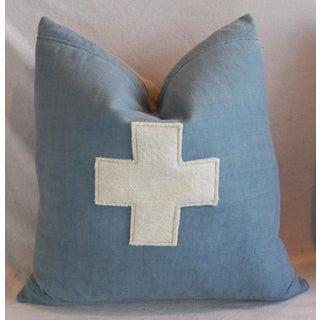 "22"" Large Custom Powder Blue Appliqué Cross Feather/Down Pillow Preview"