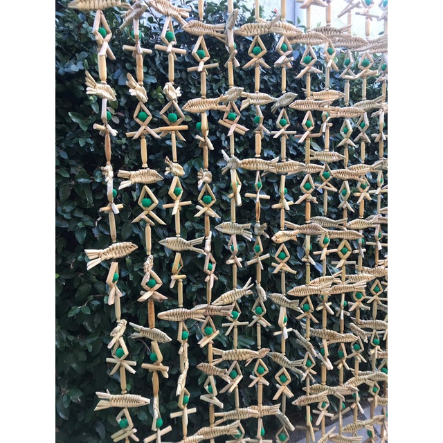 Suzan Fellman LLC Hand Woven Grass Fish Beaded Curtain For Sale - Image 4 of 6