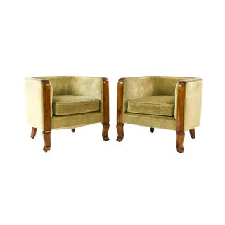 1940s Mohair and Sycamore Burl Danish Art Deco Club Chairs - a Pair For Sale