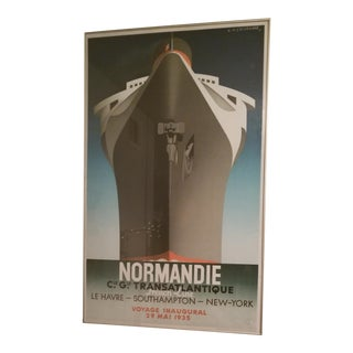 1970s Vintage Cassandre Normandie 1st Edition Lithograph Poster For Sale