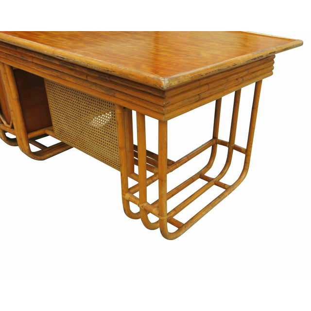 Rattan Restored Large Jean Royère Style Streamline Rattan Executive Desk For Sale - Image 7 of 8