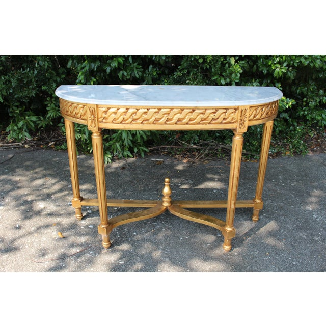 Carrara Marble Late 20th Century Vintage French Demi-Lune Table For Sale - Image 7 of 10