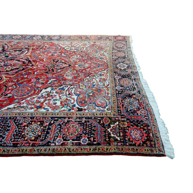 """Antique Persian Heriz Rug - 9' 11"""" by 13' 1"""" For Sale In Savannah - Image 6 of 8"""