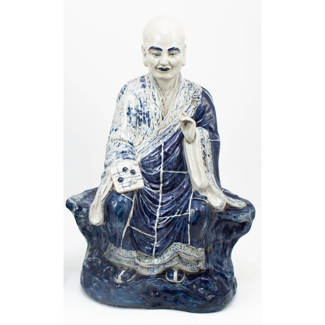 Chinese Chinese Blue and White Porcelain Seated Immortals - a Pair For Sale - Image 3 of 10