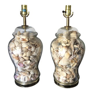 Cape Canaveral Collected Shell Lamps - a Pair For Sale