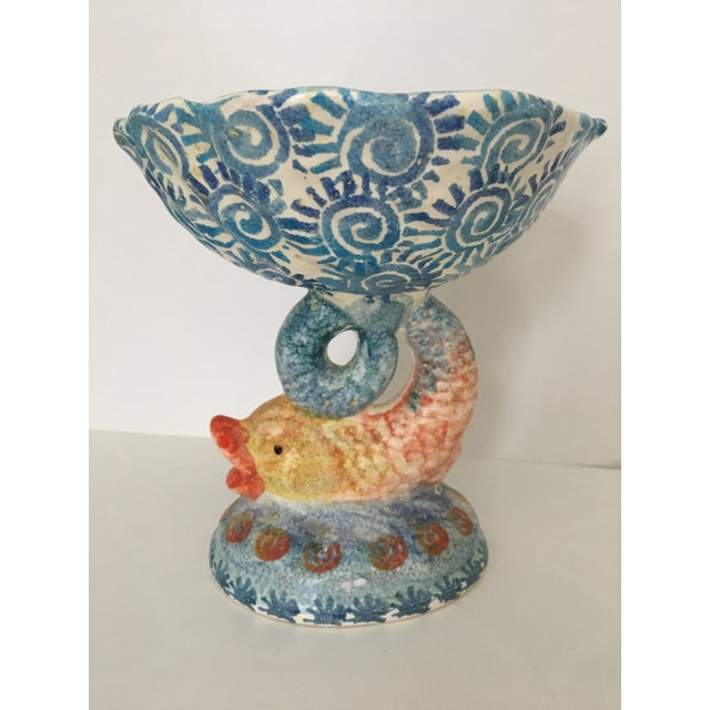 Italian Hand Painted Ceramic Shell Bowl Perched Atop Dolphin Tail For Sale - Image 10 of 10